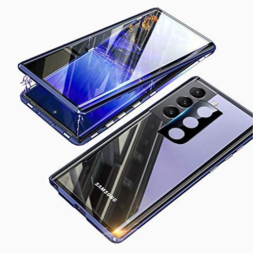 Cover per Samsung Galaxy S21 Magnetica Custodia,KEKBOX Cover Adsorbimento Magnetico Bumper in Metallo,Fronte e Retro in Vetro Temperato Trasparente 360 Gradi Rigida Case Cover per Samsung S21-Blu
