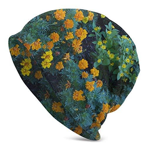 BGDFN Hermoso Sombrero de Punto de Flor Verde Amarillo Gorro cálido Gorros elásticos Suaves con puños de Calavera Gorro Diario para Unisex