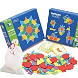 Cutogain Wooden Pattern Blocks Puzzle Kids Toys Jigsaw Shapes Dissection 130 Blocks 24 Designs