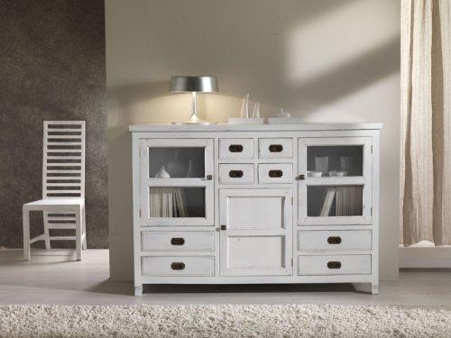"""Mobile Buffet alto in legno massello di Teak con Finitura in bianco Shabby """"VINTAGE WHITE"""" - Prezzo Outlet"""