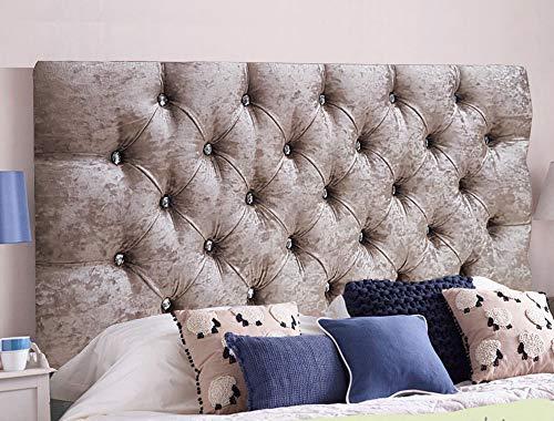Cabeceros de cama de Serenity de terciopelo arrugado ornamental con cristal de diamante, piezas con un marco resistente, terciopelo, champán, King Size 5 FEET, Height 20 INCHES