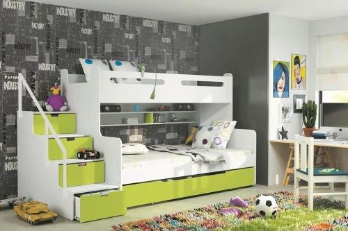 BBS Etagenbett Luca II: Trppe mit Schubladen - 5 Farben Farbe A = apfelgrün