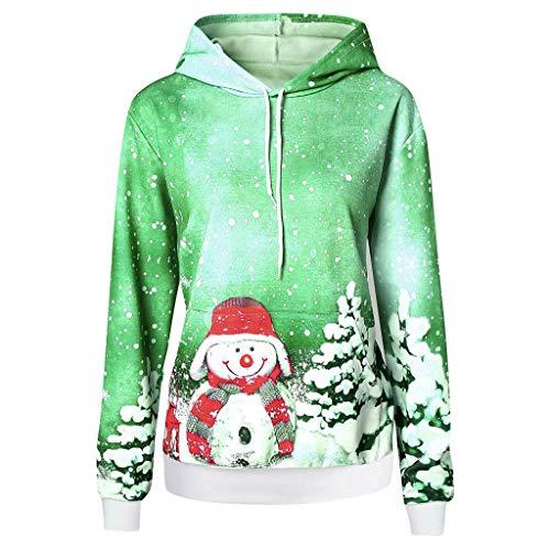 ZYUEER Sweat à Capuche Femme Pas Cher Pull De Noel Imprimé Sweatshirt A Capuche Manches Longues Hooded Christmas Jumper