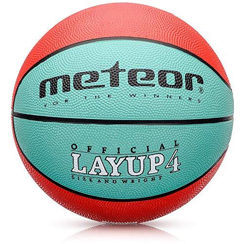 meteor® Kinder Basketball Layup Größe #4 Jugend Basketball ideal auf die Kinder-hände 5-10 Jahre idealer Mini Basketball für Ausbildung weicher Outdoor mit griffiger Oberfläche (Größe #4, Grün & Rot)