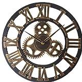 ZYCX123 Número Romano Reloj de Pared para no Hacer tictac del Reloj del Engranaje del Metal de Oro 40cm Retro Grande de la Sala de Arte de la decoración
