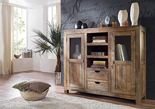 MASSIVMOEBEL24.DE Sheesham Massivholz Highboard Palisander Möbel massiv Holz Nature Grey #63