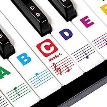 7AGIRL Piano Keyboard Stickers for Beginners 88/76/61/54/49/37 Keys - Big Letters Double Layer Coating Piano Stickers - Perfect for Kids Easy to Install Removable Transparent