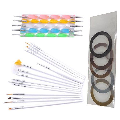 Chaud Fille 2 Way Brosse à pois/dotting tools colorés pour Nail Art Ongles Striping Tape outil Kit