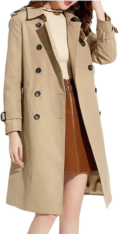 Gocgt Women Elegant Double Breasted Outwear Long Jacket Trenchcoat