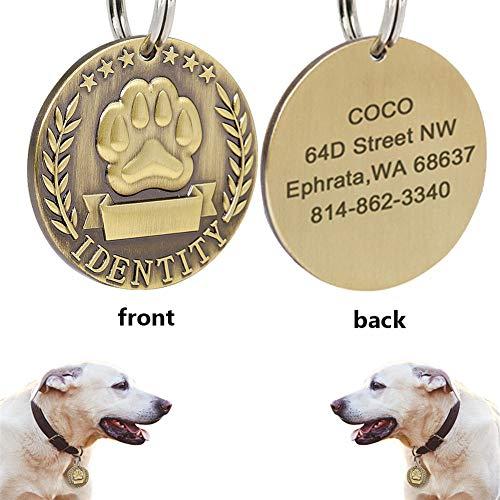 LiFashion 2 PCS Personalised benutzerdefinierte Katze Hund Name ID Medaille Tag Pet Paw Military Identity Typenschild Medaillon Kragen Charme für Haustiere Bewusstsein mit Schlüsselring
