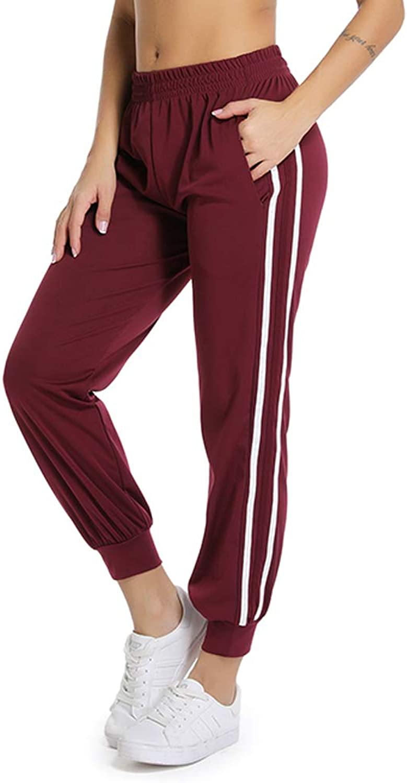 YOFIT Women's Drawstring Waist Striped Side Jogger Sweatpants Pockets