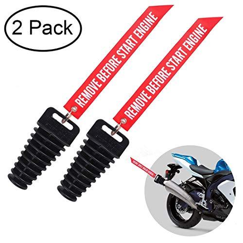 DEALIKEE - Tapón silenciador de escape para motocicleta - 2 y 4 tiempos con aerógrafo - eliminar antes de la puesta en marcha - silenciador de goma apto para vehículos todoterreno y quads