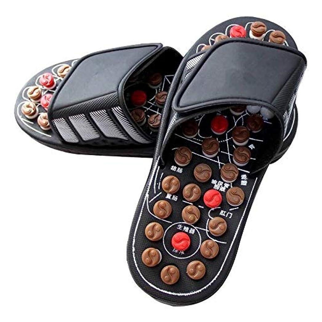 滑る固執なぜならGUANG-LADIES SLIPPERS マッサージスリッパソール鍼治療ペディキュアシューズ男性と女性の足のマッサージシューズ夏の屋内サンダルとスリッパ (Color : B, Size : 25.5CM)