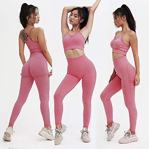 NAKAN Knitted Seamless Shrinking Peach Hip-Lifting Yoga Pants Sports Yoga Fitness Suit M, Wine Red