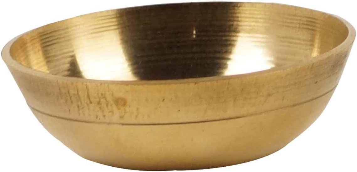IBA Indianbeautifulart Brass Holy Water Goldtone Bowl Decorative Pooja Accessories