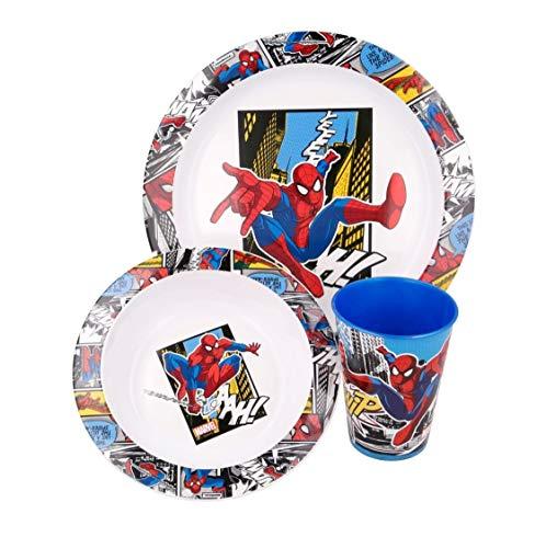 Juego de vajilla de 3 piezas: plato, cuenco y vaso de plástico sin BPA, apto para microondas, reutilizable (Spiderman)