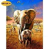 XCxCN 5D-DIY-Diamante Pintura Elefante Familia Animal Mosaico Bordado Punto de Cruz Decoración Habitación Familiar Diamante Redondo Sin Marco -40x50cm