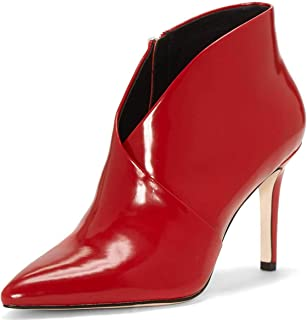 Women Closed Pointy Toe Ankle Boots Stiletto High Heels V Cut Patent Leather Booties