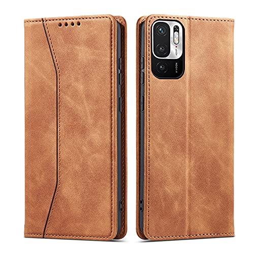 CHZHYU Handyhülle für Xiaomi Redmi Note 10 5G,Xiaomi Poco M3 Pro 5G Hülle,Premium Leder Flip Klappbare Stoßfeste Schutzhülle für Xiaomi Poco M3 Pro 5G/Redmi Note 10 5G Tasche (Braun)