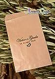 Sacchetti confettata personalizzati, carta kraft, 10x16 centimetri, a partire da 20 pezzi, avana, bustine carta, sacchetti carta confetti, confettata