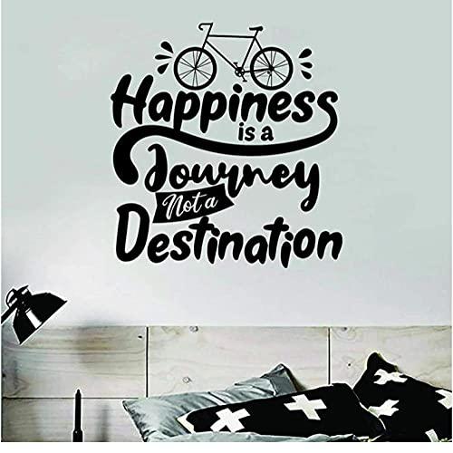 Calcomanías de pared inspiradoras Citas La felicidad es un viaje Pegatina de pared de bicicleta Cita de viaje Vinilo de bicicleta Decoración de dormitorio adolescente 57X60CM