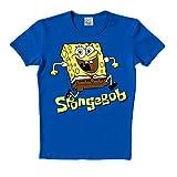 Logoshirt - Bob Esponja - Salto - Camiseta - Slim-Fit - Azul - Diseño Original con Licencia, Talla XXL