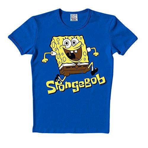 Logoshirt - Bob Esponja - Salto - Camiseta - Slim-Fit - Azul - Diseño Original con Licencia, Talla L