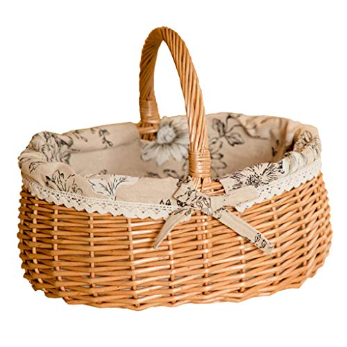 Fenteer Children's Wicker Basket With A High Handle For Picknic Fruit Vegetables 35x29x29,5cm With Lace Details