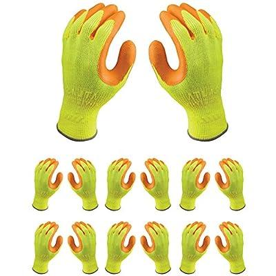 Atlas 317 HI-VIZ Grip Natural Rubber Seamless Knit Large L Work Gloves, 12-Pairs