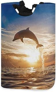 N\A Panier à Linge, océan Animal sautant Dauphin paniers de Rangement de Linge vêtements Pliables Sac Organisateur de Joue...