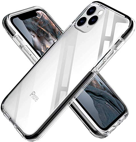 """Designed for iPhone 12 Case Clear Designed for iPhone 12 Pro Case Clear, Crystal Clear Back Cover with Shockproof Bumper, Compatible with iPhone 12 Cover iPhone 12Pro Cover 6.1""""(Black)"""
