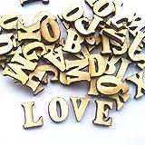 Leaftree 100 stücke Verzierungen Buchstaben Holz Alphabet Aufkleber Für Scrapbooking Cardmaking Handwerk DIY, natürliche Holz Farbe
