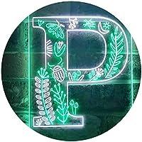 Letter P Initial Monogram Family Name Dual Color LED看板 ネオンプレート サイン 標識 白色 + 緑色 210 x 300mm st6s23-i3453-wg