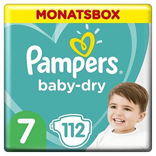Pampers Baby-Dry Windeln, Gr. 7, 15+kg, Monatsbox (1 x 112 Windeln), bis zu 12 Stunden Rundum-Auslaufschutz