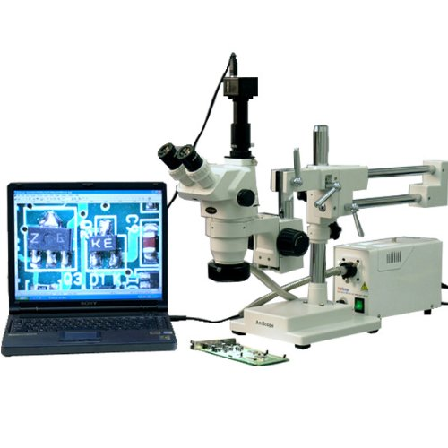 AmScope ZM-4T3-FOR-3M Digital Professional Trinocular Stereo Zoom Microscope, EW10x Eyepieces, 2X-45X Magnification, 0.67X-4.5X Zoom Objective, Fiber-Optic Ring Light, Double-Arm Boom Stand, 110V-120V, Includes 0.3X Barlow Lens, 3MP Camera with Reduction Lens, and Software