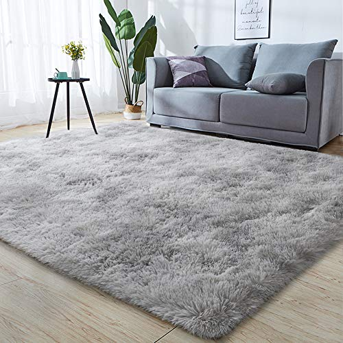 GKLUCKIN Shag Ultra Soft Area Rug, Non-Skid Fluffy 6'X9' Tie-Dyed Light Grey Fuzzy Indoor Large Faux Fur Rugs for Living Room Bedroom Nursery Decor Furry Carpet Kids Playroom