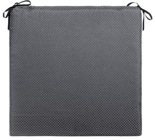 Brandsseller - Coussin de chaise pour intérieur/extérieur - Motif tressé - Gris foncé env. 38 x 38 x 3 cm