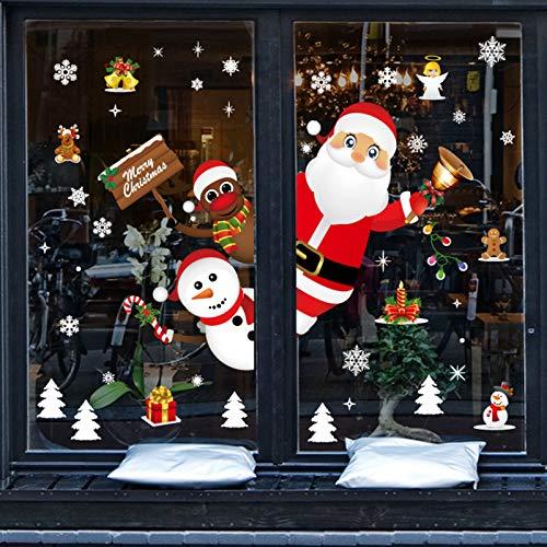 Sunshine smile Weihnachten Fensterdeko,Weihnachts-Fenster Dekoration,Fensterbilder Weihnachten,Schneeflocken Weihnachtsdeko,Weihnachtsdeko,Winter Dekoration, Fenster Santa Dekoration