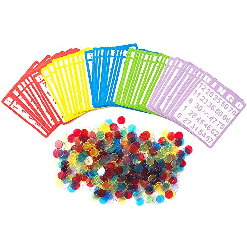 Yuanhe Bingo Game Set with 50 Bingo Cards and 500 Colorful Transparent Bingo Chip