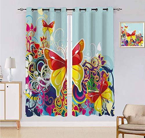 Alandana - Tende colorate, farfalle e ornanets floreali, motivo fantasia ali ali colorate, per soggiorno, 2 pannelli, ogni pannello 137,2 x 228,6 cm, multicolore