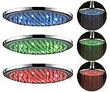 Regendusche LED mit Farbwechsel Kopfbrause 20cm Überkopfbrause Regenwalddusche Chrom Antikalk Noppen