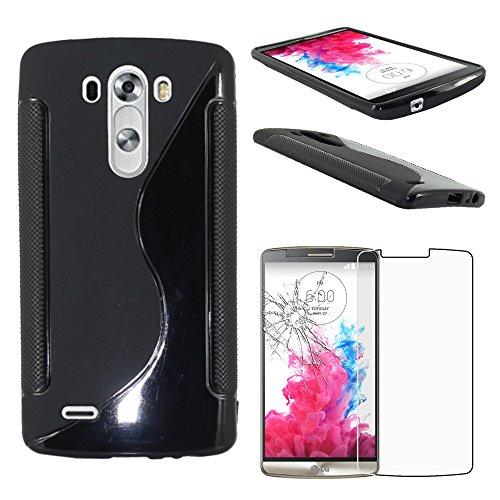 ebestStar - Funda Compatible con LG G3 D855 Carcasa Gel Silicona Gel TPU Motivo S-línea, S-Line Case Cover, Negro + Cristal Templado Protector Pantalla [Aparato: 145.5 x 74.6 x 9.1mm, 5.5'']