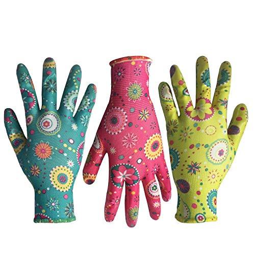 Clear Nitrile Garden Working Gloves - PROMEDIX - Comfort Flex Coated Work Gloves, Super Light...