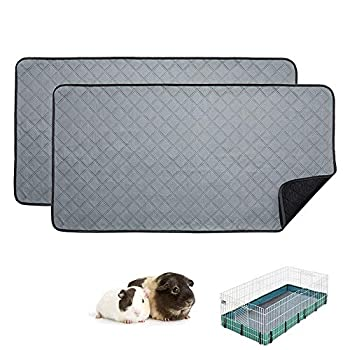 RIOUSSI Guinea Pig Fleece Cage Liners Highly AbsorbentWashable Guinea Pig Bedding for Midwest and C&C Guinea Pig Cages with Leak-Proof Bottom.for Midwest Light Gray 2 Pack.
