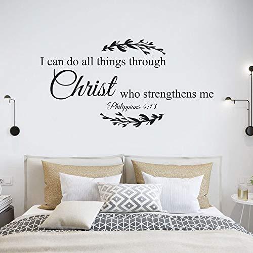 Pegatinas de pared con citas de poesía Puedo fortalecer todas mis fuerzas a través de las pegatinas de decoración del hogar del dormitorio de Cristo A6 82x42cm