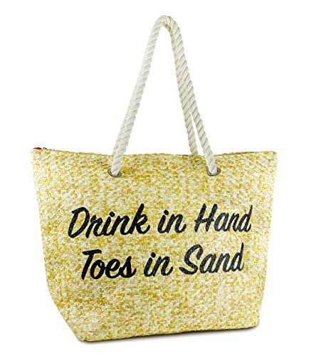 Beach Bag - DRINKS IN HAND TOES IN SAND (Natural)