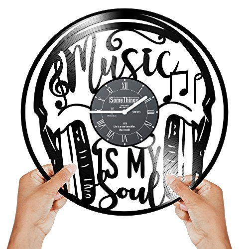 Music Themed Vinyl Record Clock - Music Headphones Themed Gifts Idea for Music Lovers Men Woman Teens and Kids Unique - Musicians Notes Vintage Theme Art Wall Decor and Decorations Artwork Black