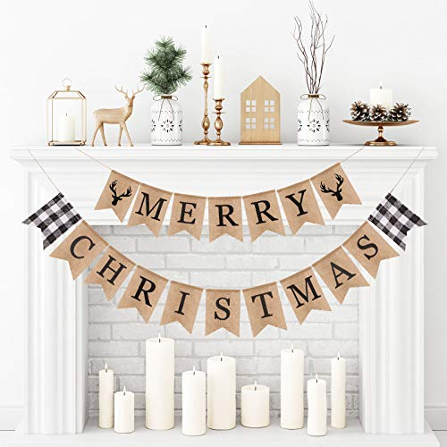 Whaline Merry Christmas Burlap Banner White Black Buffalo Plaid Reindeer Banner Vintage Rustic Christmas Bunting Garland for Xmas Party Home Fireplace Indoor Outdoor Holiday Decor Supplies, 2Pcs