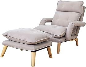 LONGren Folding Lazy Sofa Chair Multi-Function Folding Single Armchair Solid Wood Frame Sponge Filling Bedroom Living Room...