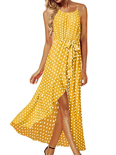 ACHIOOWA Mujer Vestido Elegante Impreso Froal Playa Bohemio Dress Cuello V Manga Corta Escote Fiesta Cóctel Falda Larga Amarillo-G91004 XL